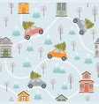 Seamless pattern with houses and cars in winter