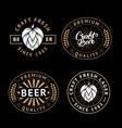 set beer labels in retro style vintage vector image