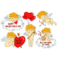 set cartoon cupid characters vector image