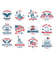 set of 4th july emblem vector image vector image