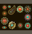 set of jewelry ethnic brooches vector image vector image