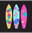 set of surfboards isolated on black background vector image vector image