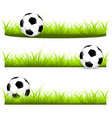 set the ball on grass 3 options vector image vector image