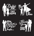 silhouette father and child with quotes in -01 vector image vector image