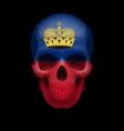 Skull with Liechtenstein flag vector image vector image