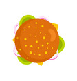 top view burger icon flat style vector image
