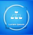 white folder tree icon isolated on blue background vector image vector image