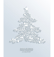 White Merry Christmas and Happy New Year tree vector image vector image