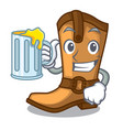 with juice old cowboy boots in shape character vector image vector image