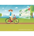 young woman riding a bike and seeing bicycle path vector image vector image