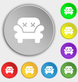 Armchair icon sign Symbol on eight flat buttons vector image
