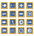 arrow icons set blue vector image