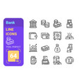 bank line icons set vector image