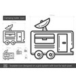 camping trailer line icon