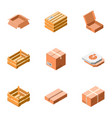 Carton package icon set isometric style