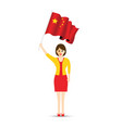 china flag waving woman vector image vector image
