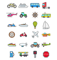Color transport icons set vector image vector image
