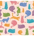 Colorful cats silhouettes seamless pattern vector image