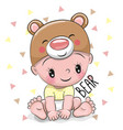 cute cartoon baby boy in a bear hat vector image