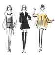 fashion models sketch cartoon girl doodles vector image vector image