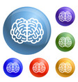 front side brain icons set vector image