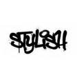 graffiti stylish word sprayed in black over white vector image