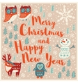 Greeting Holiday card with owls snowman deer and vector image vector image