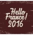 Hello France label 2016 Soccer emblem Football vector image vector image