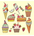 ice cream and cake vector image
