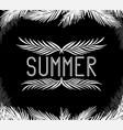inscription summer in the palm leaves vector image vector image