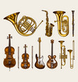 jazz classical wind instruments set musical vector image vector image