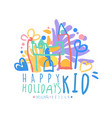 kid happy holidays logo original design colorful vector image