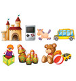 large set children toys on white background vector image vector image