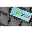 logistics words on laptop keyboard business vector image