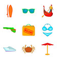 miami icons set cartoon style vector image vector image