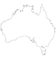 Outline map of Australia vector image vector image