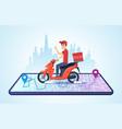 pizza motorbike delivery urban landscape vector image vector image