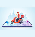 pizza motorbike delivery urban landscape with vector image vector image