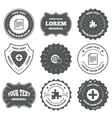 Plus circle and puzzle signs File globe vector image vector image