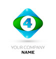 realistic number four in colorful rhombus vector image vector image
