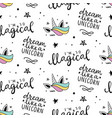 seamless unicorn pattern magical background vector image vector image