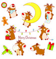 set cute christmas deers in kawaii style vector image vector image