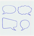 speech bubbles doodle style blue hand drawn vector image