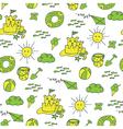 summer pattern beach green yellow vector image vector image
