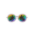 sunglasses with palms reflection on lenses sketch vector image vector image
