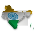 Three Dimensional of India map vector image vector image