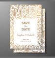 wedding vintage invitationsave the date card with vector image vector image
