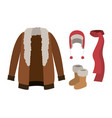 winter clothes with fur coat and scarf and wool vector image vector image
