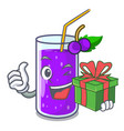 with gift grape juice in glass a mascot vector image vector image