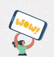 woman show wow on smartphone vector image vector image